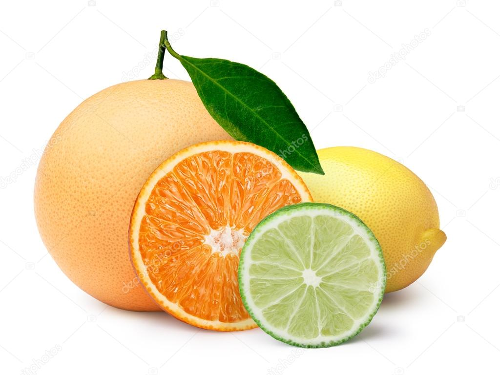 Citrus fruits with clipping paths