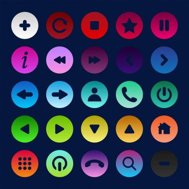 Icon set multi colored button in flat style. Easy editable vector isolated illustration. icon