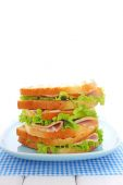 Fotografie sandwich with ham and lettuce
