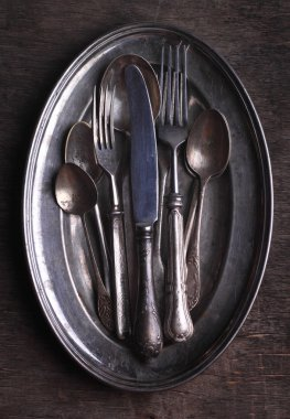 old silver tableware