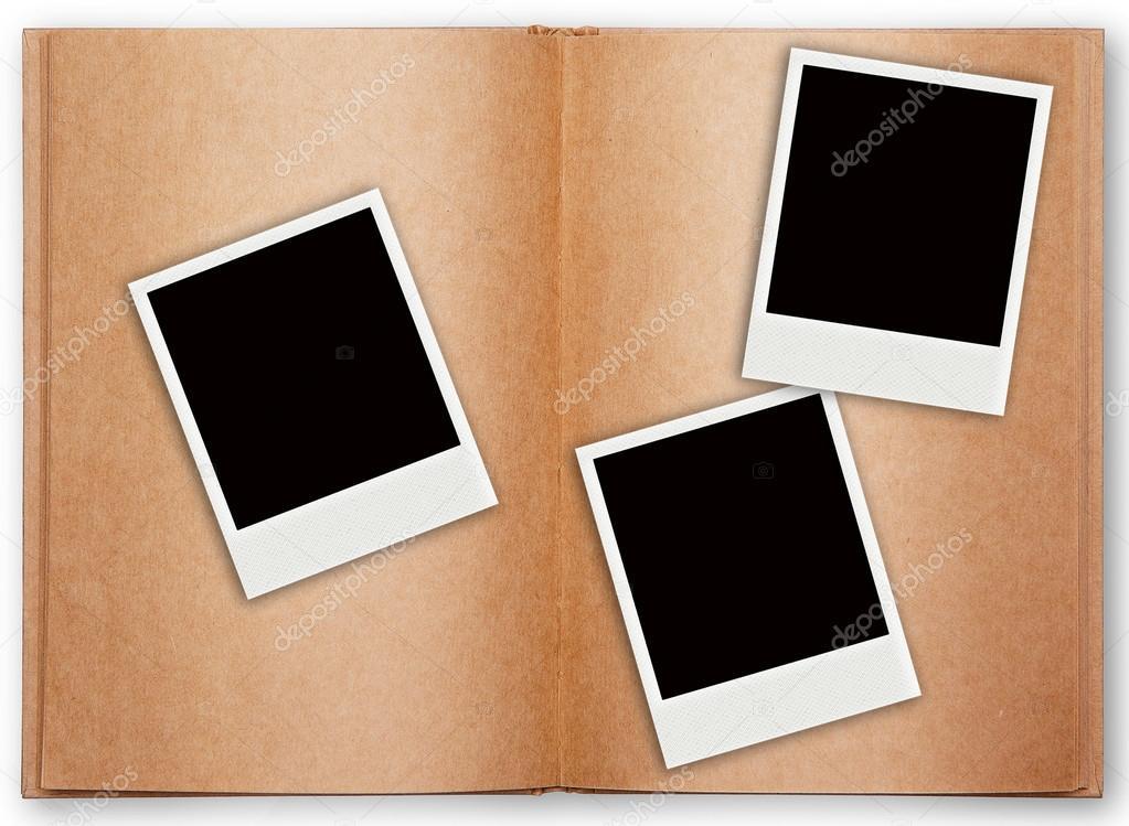 Tres marco polaroid con abrir el viejo libro — Foto de stock ...