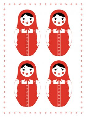 red matryoshka four emotions