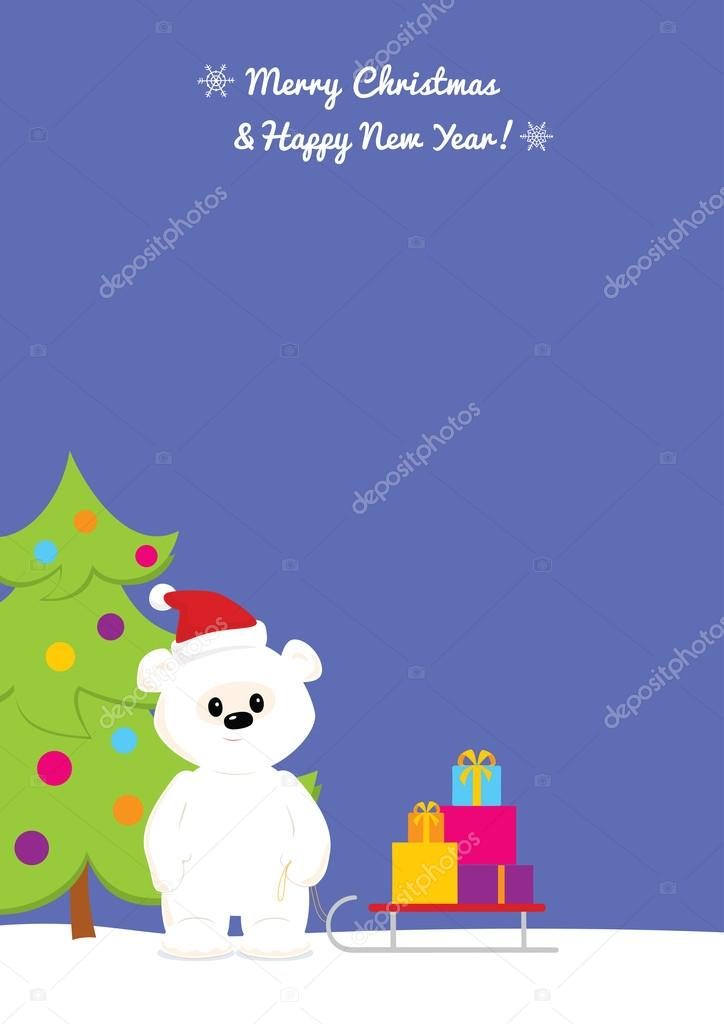 sky blue christmas background with baby polar bear caring presents stock vector c spoorloos 57997231 depositphotos