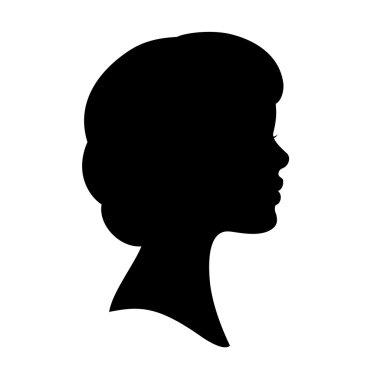 Vector black silhouette of woman face profile. Wavy bob haircut.