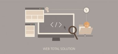 Modern and classic web total solution flat concept icon set
