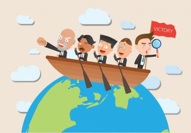 Business corporation team rowing concept flat character