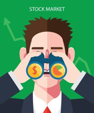 Flat character of stock market illustrations