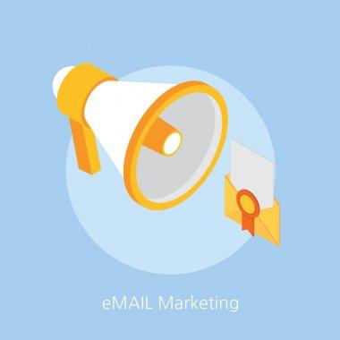 email marketing concept design 3d isometric vector illustration