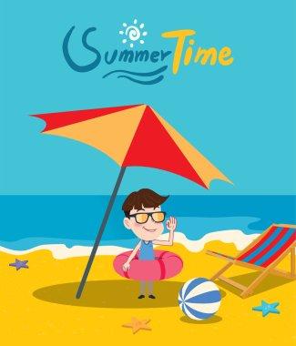 Summer holidays vector illustration,flat design beach and kid concept