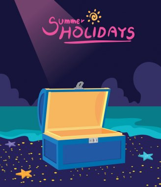 Summer holidays vector illustration,flat design treasure box and hunting concept