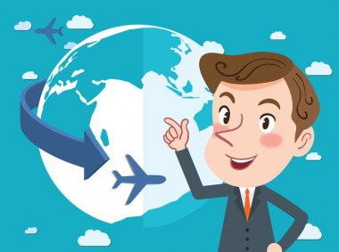 Drawing flat character design global business concept