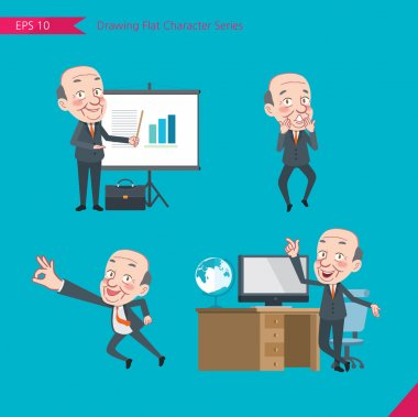 Set of drawing flat character style, business concept ceo activities - presentation, Surprised, ok sign, troubleshooter, boss
