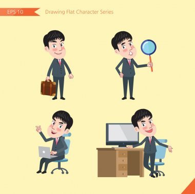Set of drawing flat character style, business concept young office worker activities - businessman, research, office worker, counselling