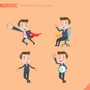 Set of drawing flat character style, business concept young office worker activities - business hero, Question, time management, Knowledge