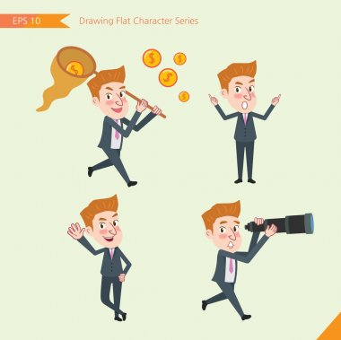 Set of drawing flat character style, business concept young office worker activities - funding, ability, counsel, finding