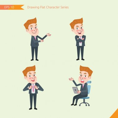 Set of drawing flat character style, business concept young office worker activities - introducing, confidence, office worker, communications