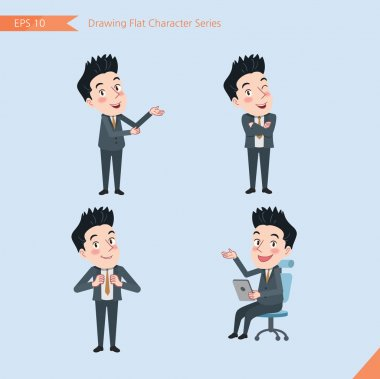 Set of drawing flat character style, business concept handsome office worker activities - introducing, confidence, office worker, communications