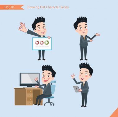 Set of drawing flat character style, business concept handsome office worker activities - presentation, ok sign, troubleshooter