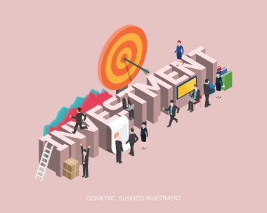 Flat 3d isometric vector illustration investment concept design, Abstract urban modern style, high quality business series