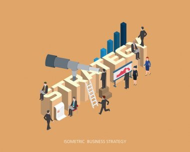 Flat 3d isometric vector illustration strategy concept design, Abstract urban modern style, high quality business series.
