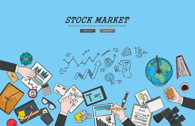 Drawing flat design illustration stock market concept. Concepts for web banners and promotional materials.