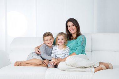 Portrait of family on white background