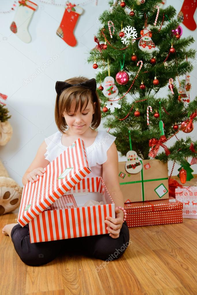 Cute Christmas Gifts For Girlfriend.Cute Girl With Christmas Gifts Stock Photo C Smanyuk 90286466