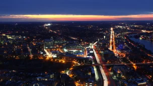 Vista aerea timelapse sullo Skyline di Boston al tramonto