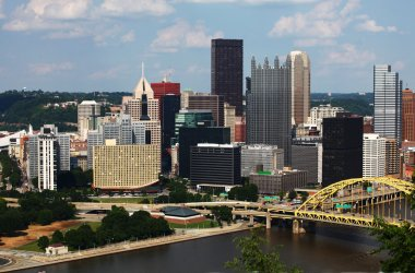 Aerial view of the Pittsburgh city center