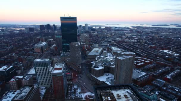 A timelapse view of the Boston Skyline at dusk