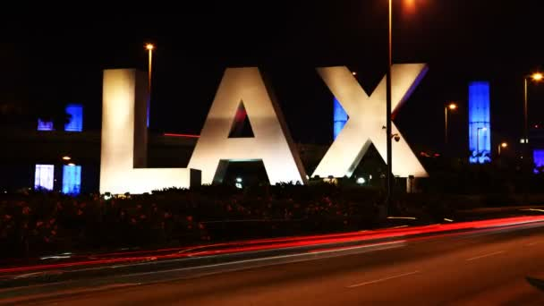 UltraHD Los Angeles Airport sign (LAX) after dark