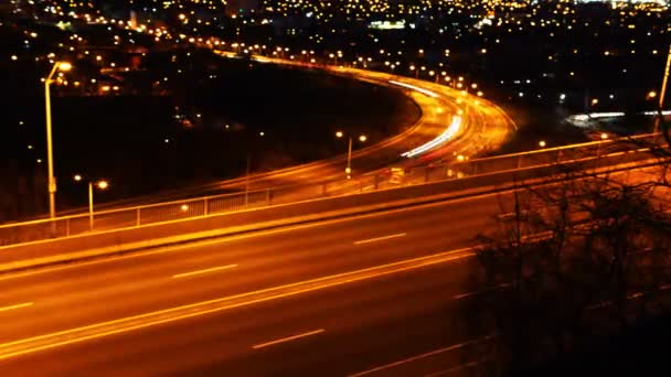 Timelapse view of a busy expressway at night