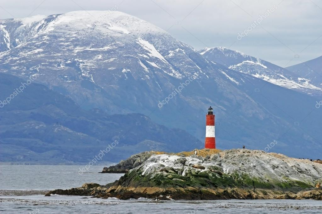 Lighthouse in Beagle Channel at Tierra Del Fuego