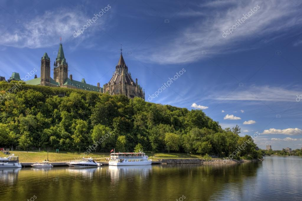 Canada's Parliament high above the Ottawa River