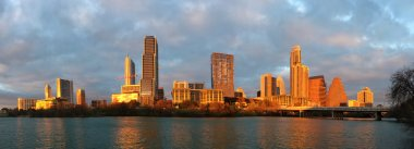 Panorama of Austin skyline glowing at sunset