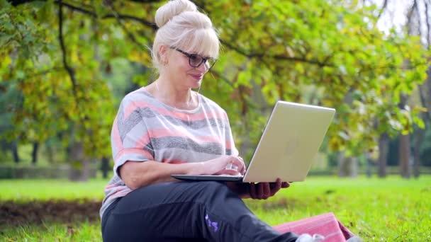 Portré boldog idős nő ül a parkban gyep és csinál vásárlás vagy banki. Egyszerű számlázás Online Laptop használata. Érett nő könnyen kezelhető számítógép az interneten keresztül távirányító