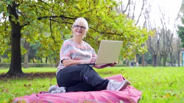 Portré boldog idős nő ül a parkban a gyepen, és kommunikál webkamera segítségével laptop. Felnőtt nő beszél a család integető kéz a képernyőn az interneten keresztül távközlés
