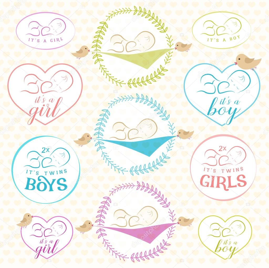 Vintage Baby Girl and Boy Badge Set. Design Elements for Greeting ...
