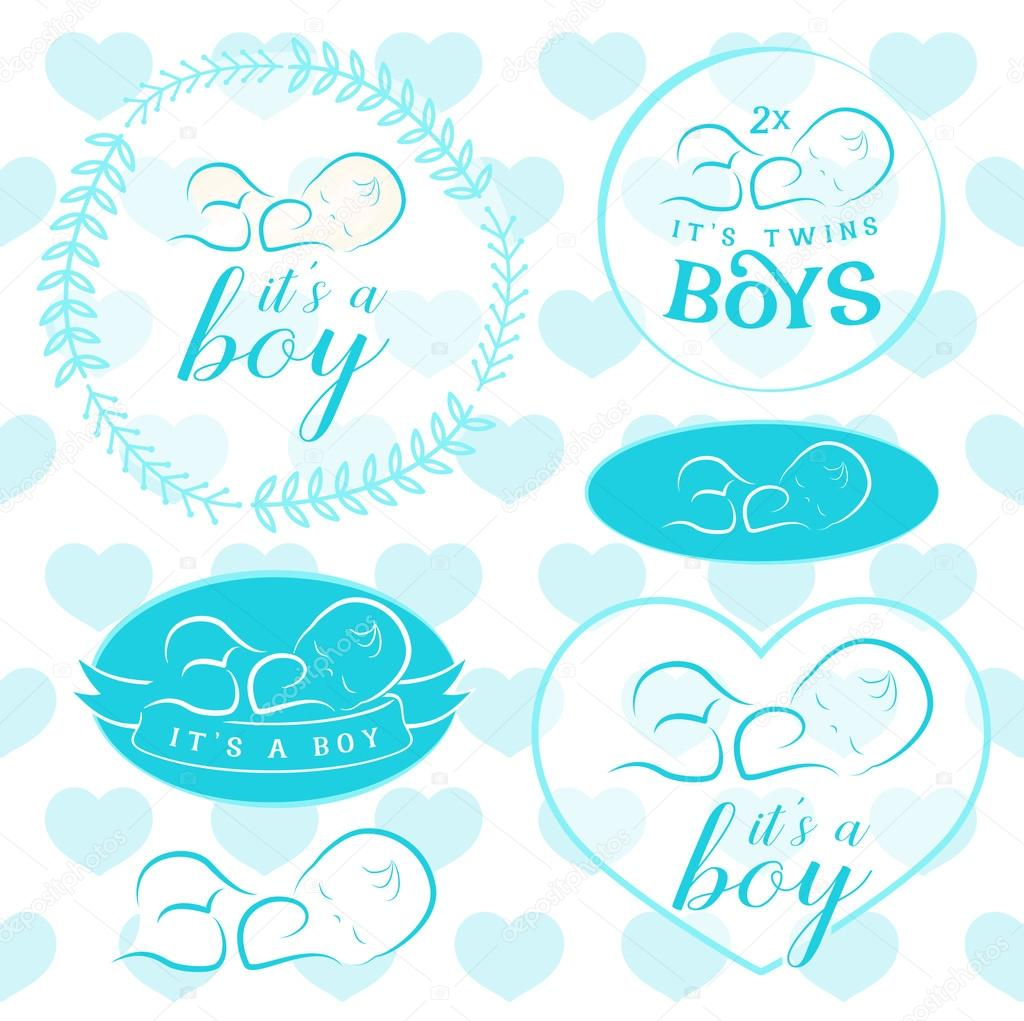 Baby Boy Badge Set Design Elements For Invitation Cards Greeting