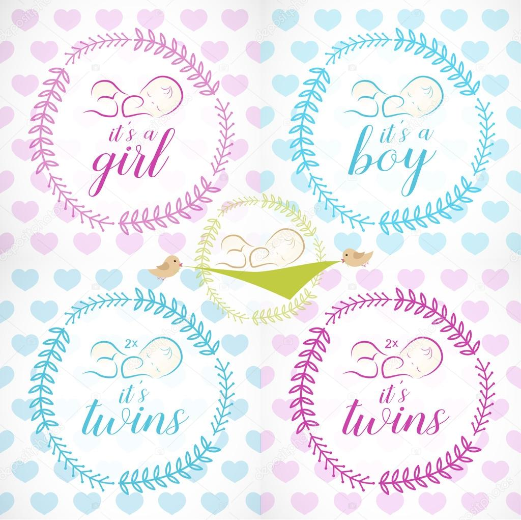 Cute Baby Girl, Boy and Twins Design Elements for Greeting and Baby ...
