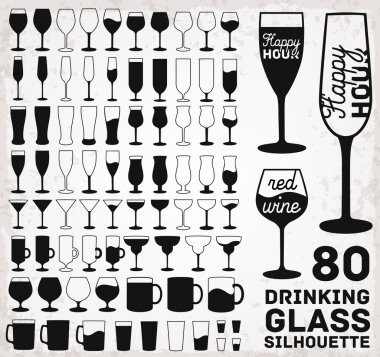Drinking Glass Silhouettes. Vector Illustration