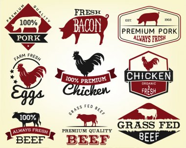Collection of Premium Beef, Chicken and Pork Labels and Design Elements in Vintage Style