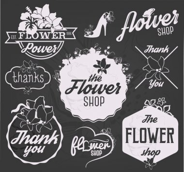Flower Shop Design Elements, Labels and Badges in Vintage Style