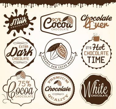 Chocolate Design Elements, Labels and Badges in Vintage Style