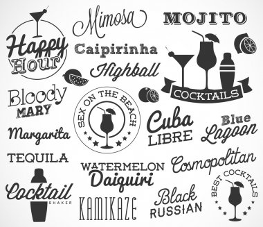 Cocktail Design Elements in Vintage Style. Calligraphic Labels and Badges. Vector Illustration.