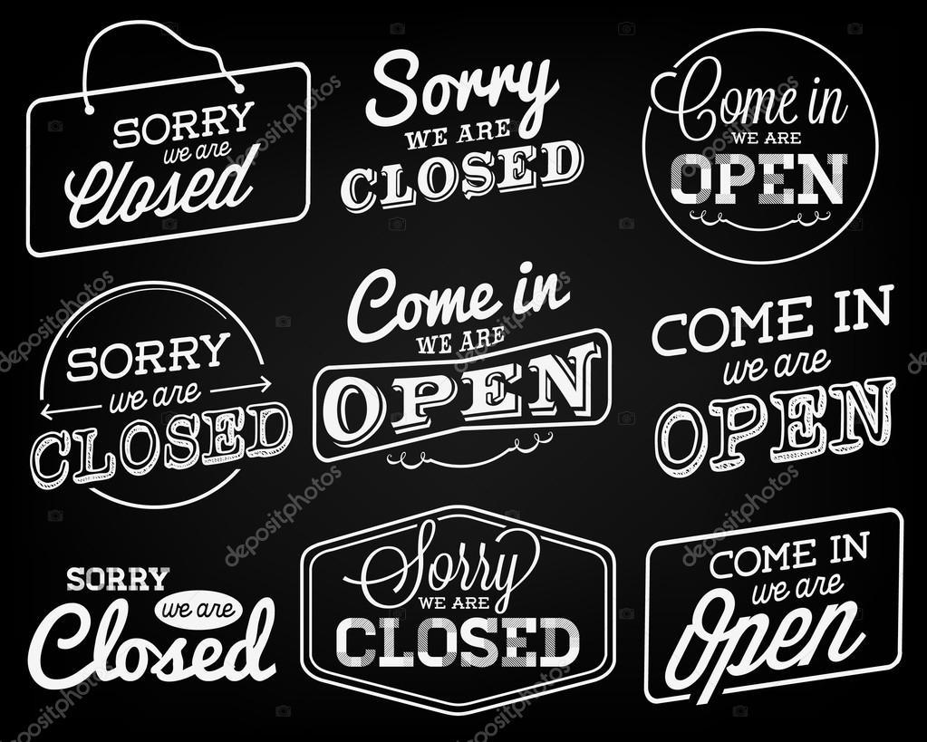 Offene und geschlossene Geschäft Etiketten und Abzeichen im Vintage ...