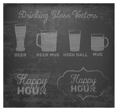 Happy Hour Hand Drawn Design on Blackboard.