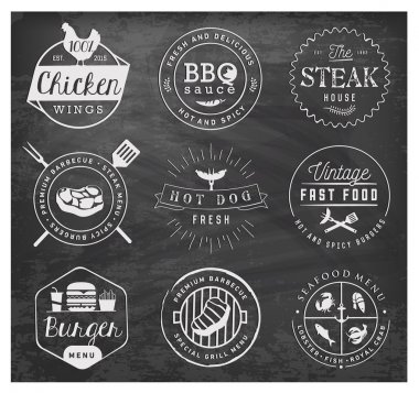 Grill, Barbecue, Burger, Hot Dog, Seafood Design Elements in Vintage Style