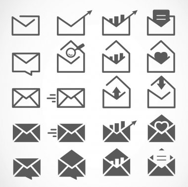Black Mail, Message and Envelope Icon Set on White Background