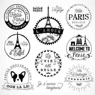 Paris Badges and Labels in Vintage Style